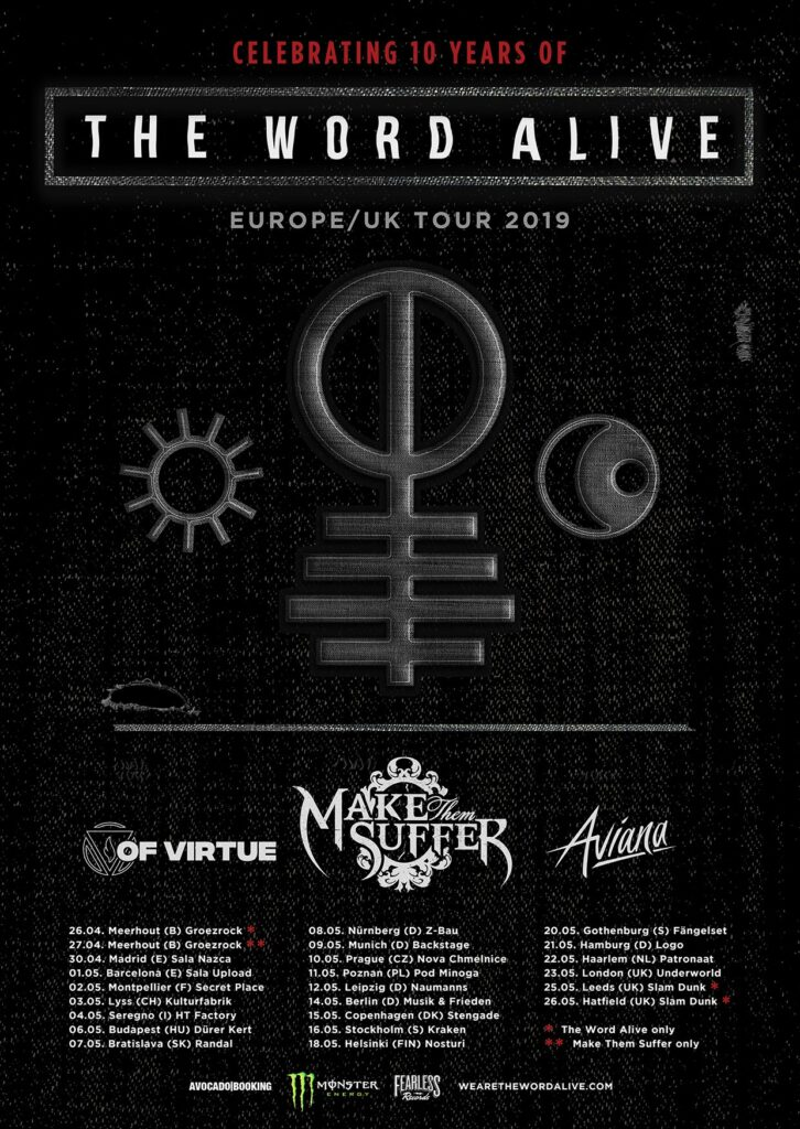 The Word Alive Europe and UK tour 2019